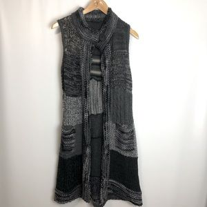 Karffany wool blend knit long patchwork vest Sz M